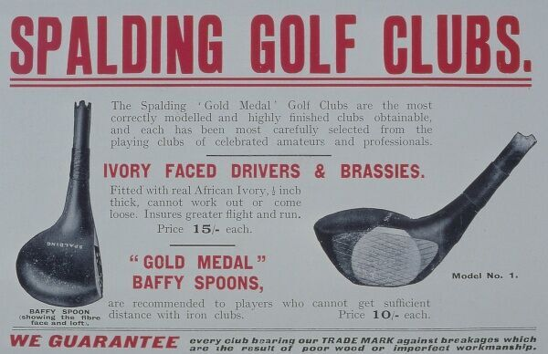 Advertisement for Spaldings drivers and brassies with insert of ivoryplates. Golf Illustrated, 1910. Date: 1910