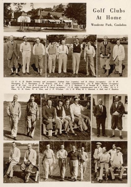 Page from the Bystander with photographs of the club house and various members of the Woodcote Park golf club, in Coulsdon, Surrey in 1935