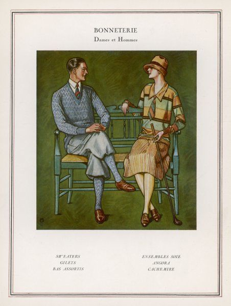 A golfing couple: the man wears plus-fours with matching socks and jumper; the lady wears a pencil-pleat skirt, striped jumper with large collar and tie and cloche hat