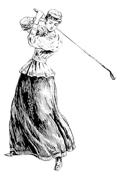 A lady golfer addresses the ball