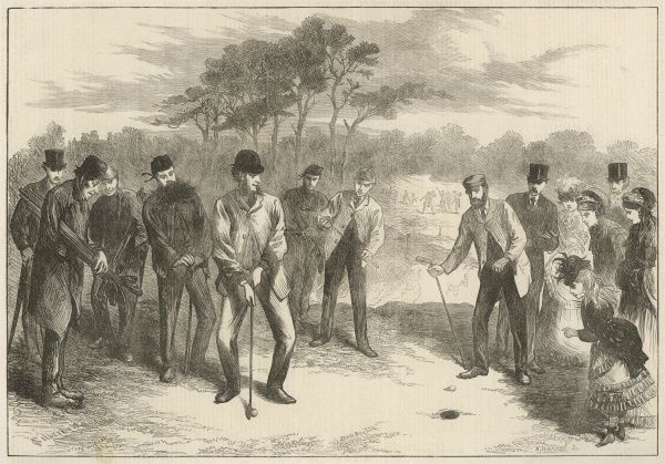 A golf match between the London Scottish and Royal Blackheath golf clubs takes place at Blackheath