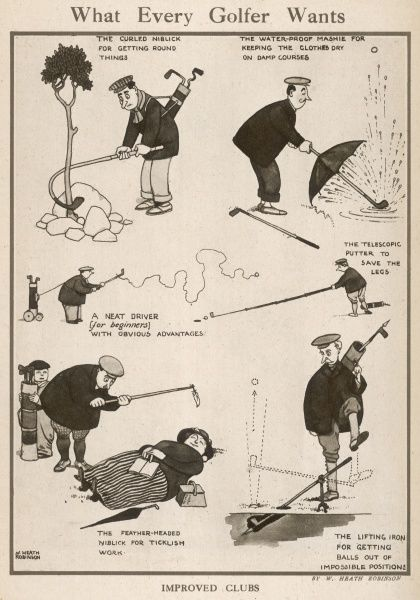 Cartoon, What every golfer wants. Golfers using unusual golf clubs for playing golf in difficult places and their hazards. Please note: Credit must appear as Courtesy of the Estate of Mrs J.C.Robinson/Pollinger Ltd/ILN/Mary Evan&quot