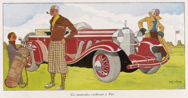 A golfinc couple arrive at the course in their splendid vehicle