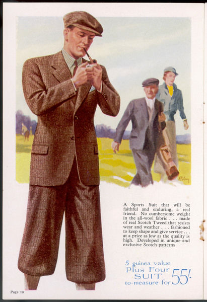 Highland tweed sports suit of single-breasted jacket & plus- fours worn with a matching flat cap. Perfect for golfing and other outdoor pursuits