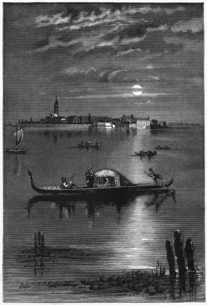 A moonlit excursion by gondola in the lagoon, Venice