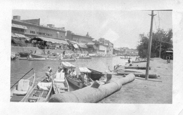 Gondolas and ancient cannons at the canal side in Basra, Iraq, known as the Venice of the Middle East