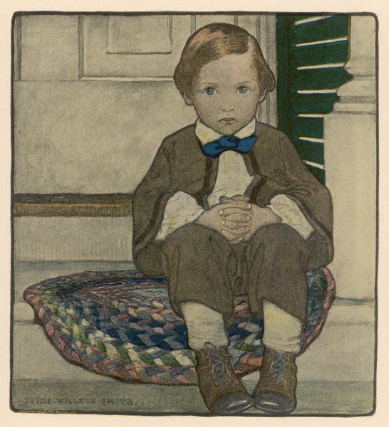 A well-behaved little boy sits quietly on the doorstep