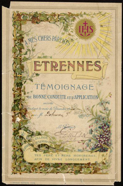 Acknowledgment of P Dohmen's good behaviour for December 1920 by St Servais College, Liege. Issued monthly such certificates are designed to be given to the parents