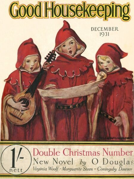 Front cover of Good Housekeeping magazine with three angelic carol singers dressed in medieval hooded robes. One plays a lute while they all sing from a song sheet. Date