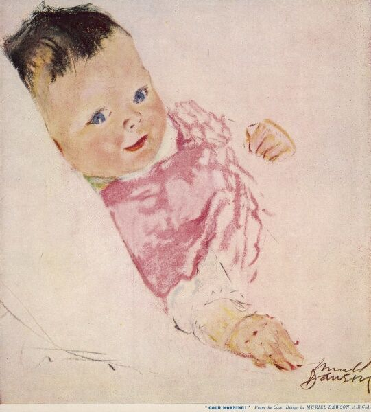 A bright and cheery looking baby in a pink cardigan beams at the viewer
