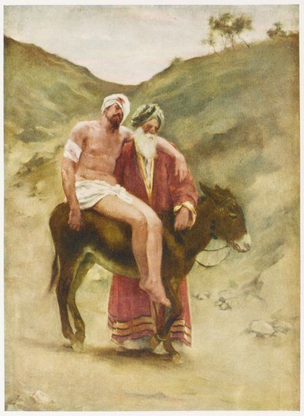 The parable of the Good Samaritan who proves a good neighbour to a man who had fallen among thieves
