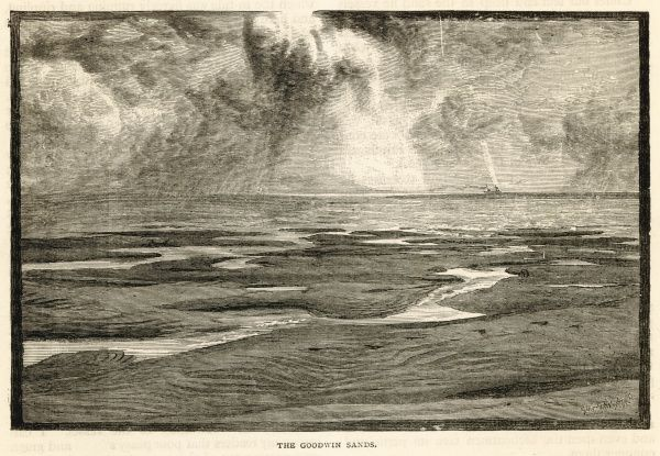 The GOODWIN SANDS, in the Straits of Dover, where many a good ship has come to grief