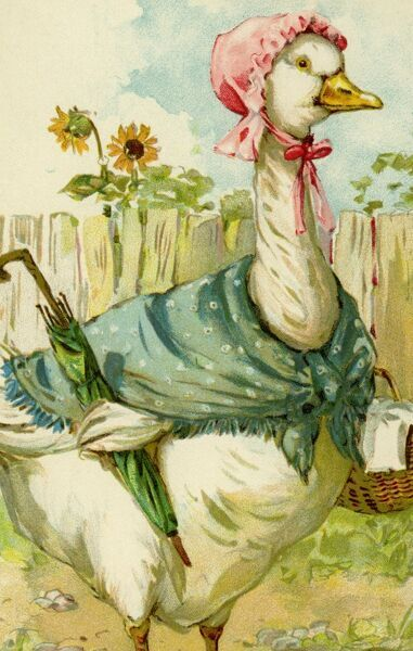 Goose goes shopping by gh Thompson. George Henry Thompson (1859-1959) specialised in illustrating humorous animals. He was also a landscape painter. This image in books and postcards by Ernest Nister. Date: circa 1904