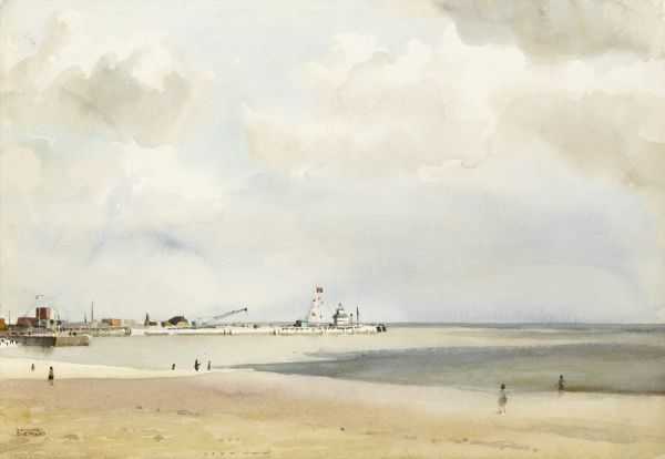 Gorleston beach and Pier. Watercolour painting by Raymond Sheppard