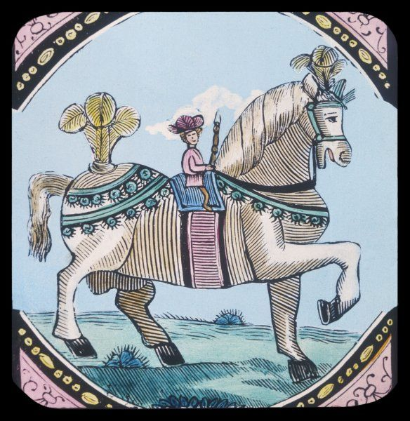 Tom Thumb - hero of a 16th century nursery tale - is provided with a horse upon which he can perform knightly deeds