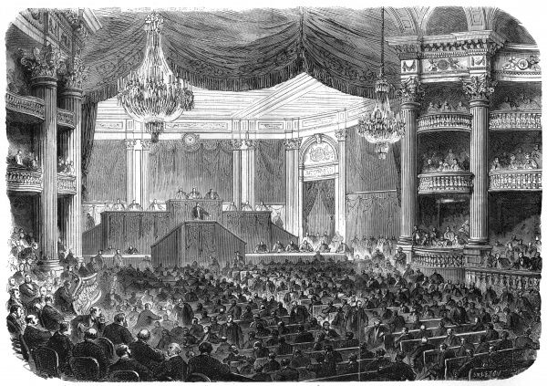 While Paris is under the control of the Commune, the Assemblee nationale is housed in the Grand-Theatre at Bordeaux. Date: April-may 1871