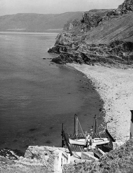 The coastline of the Gower Peninsula, looking towards Rhossilli Bay, Glamorgan, Wales. Date: 1950s