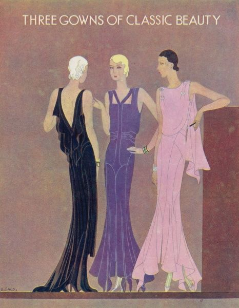 Colour fashion illustration showing three glamorous evening gowns