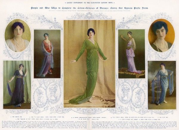Purple and blue wigs to complete the colour-schemes of dresses: gowns that express poetic ideas. Costumes from the house of Madame Lucile, reviving the idea that the hair should accord with the colour-schemes of modern dress