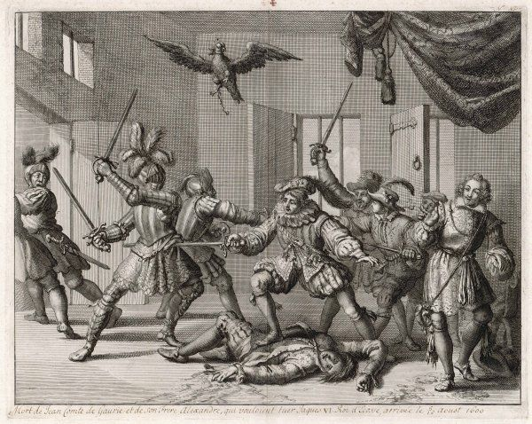 THE GOWRIE CONSPIRACY John Ruthven, 3rd earl of Gowrie, is killed while trying to assassinate James VI (later James I of England) ; or was it a put-up job by James ?