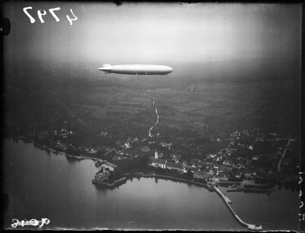 A Graf Zeppelin in flight, possibly over the River Rhine