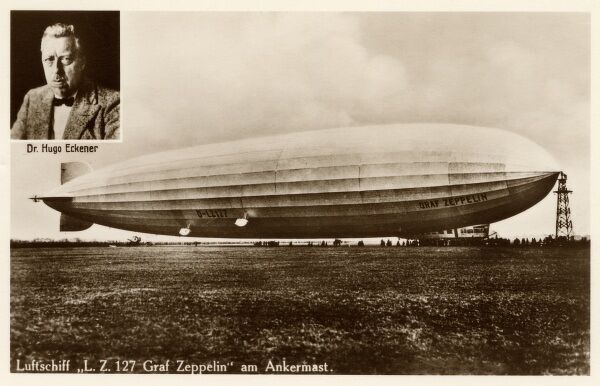 Graf Zeppelin - LZ 127 - at anchor. The inset portrait shows Dr. Hugo Eckener (1868-1954), the manager of the Luftschiffbau Zeppelin during the inter-war years, and was commander of the famous Graf Zeppelin for most of its record-setting flights
