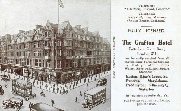 The Grafton Hotel, Tottenham Court Road, London - now the Radisson Edwardian Grafton Hotel Date: circa 1910