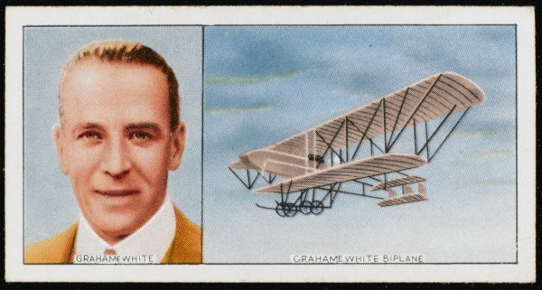 Claude Grahame-White, English aviator and engineer, and his biplane