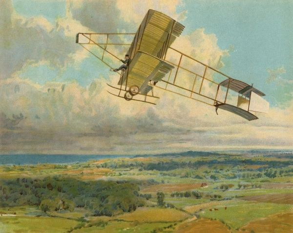 Claude Grahame-White flying his Farman biplane at Blackpool, England : this year he makes the first night flight in England. Date: circa 1910