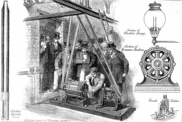 Engraving showing a group of gentlemen viewing the Gramme electricity generator and several images showing the electric lamps used with the generator, 1878