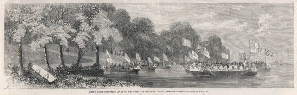 Grand canoe reception given to the Prince of Wales (later Edward VII) on the St Lawrence river during his visit to Canada in 1860
