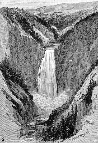 Engraving showing the Grand Falls cascading 367 feet into the Yellowstone Canyon, 1883