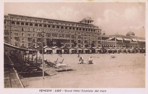 The exterior of the Grand Hotel Excelsior - Lido - Venice, showing the beach and beach huts