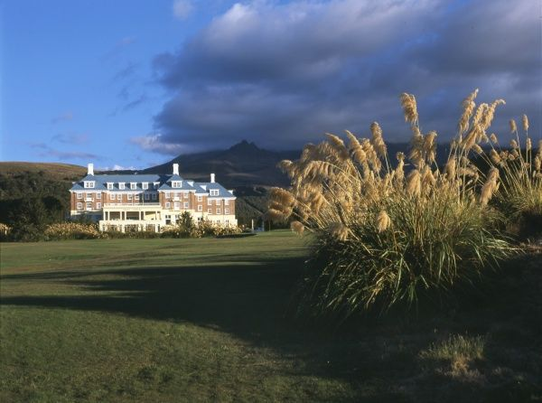 View of the grand hotel, Chateau Tongariro or Bayview Chateau, at Whakapapa, North Island, New Zealand. Whakapapa is located on the northern side of Mount Ruapehu in Tongariro National Park, and is one of the mountain's two commercial skifields