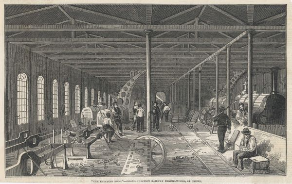 The Grand Junction Railway locomotive manufactory at Crewe : the heavy machine shop (second view) containing large machining tools to take the rough castings of train parts