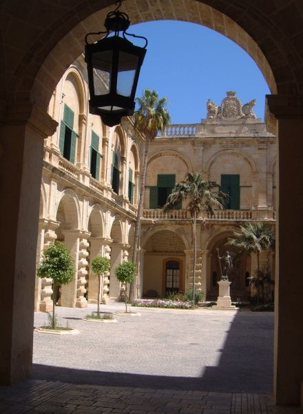 A view through to the courtyard of the Grand Master's Palace off Republic Street in Valletta on Malta