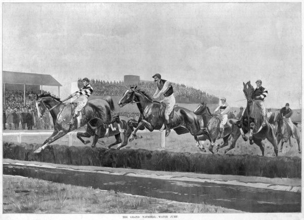 Horses and riders leap over the water jump on the Grand National course at Aintree in 1897. The winner, Manifesto is seen in the lead
