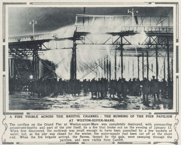 The Grand Pier at Weston-Super-Mare burns down on 13th January 1930