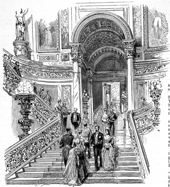 Engraving showing the Grand Staircase of Buckingham Palace, London, in 1887