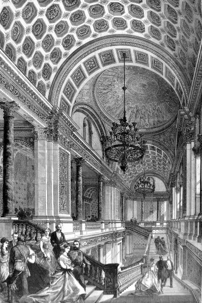 Engraving showing the Grand Staircase of the Foreign Office, London, with a formal evening event underway, 1868