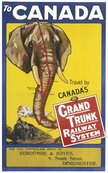 Grand Trunk Railway System Poster for rail travel in Canada showing an elephant and a steam engine