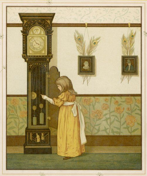 A little girl watches the pendulum of an ornate grandfather clock