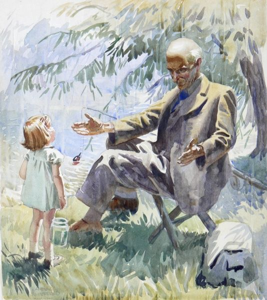 A Grandfather, fishing in the shade of a tree by a quiet pool, welcomes his Granddaughter with open arms. Watercolour painting by Raymond Sheppard