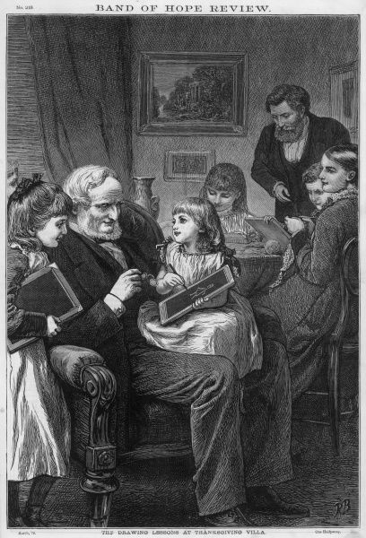 Grandpa demonstrates his artistic skill to his grand- daughters while the rest of the family get on with their evening activities Date: 1879