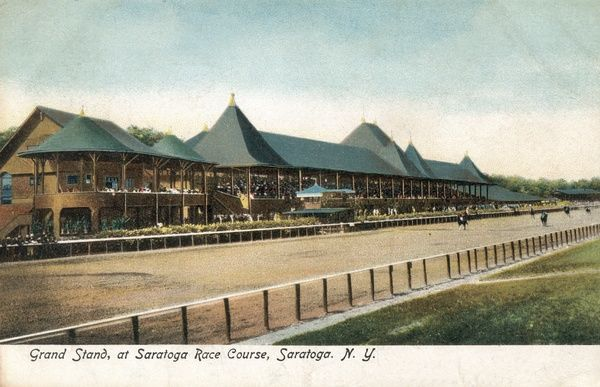Grandstand at Saratoga Race Course, NY State, USA Date: 1906