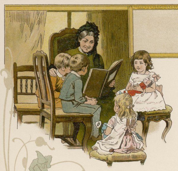 Four children gather round to hear Granny read them a story