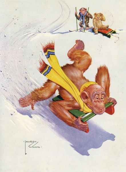 Humorous illustration featuring Granpop, the orang utan character created by Lawson Wood hurtling down a piste head-first on a toboggan, much to the bemusement of a small monkey and bear. Date: 1935