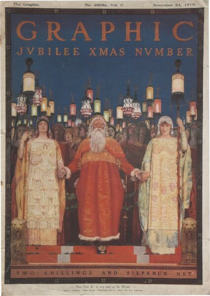 Sumptuous front cover illustration featuring Father Christmas for The Graphic's Christmas number in the year it celebrated its 50 year anniversary