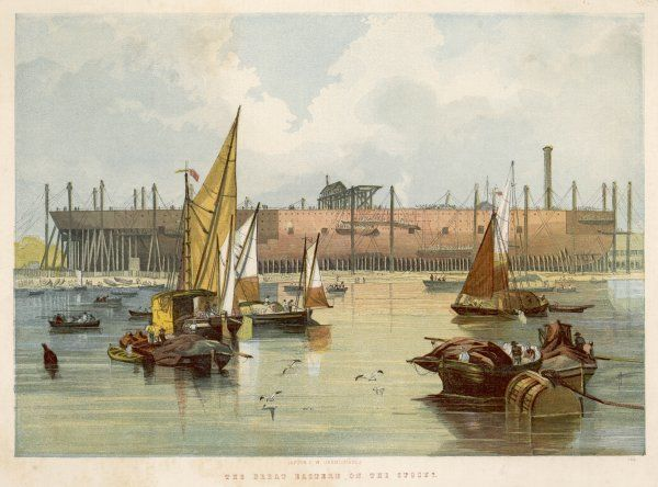 Under construction,at Millwall, seen from the river Thames