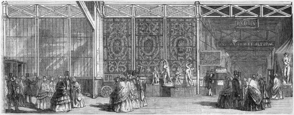 A panorama of the Great Exhibition in the Crystal Palace in Hyde Park : the south entrance west with people entering the building, the Royal Commissioners' Room with a bronze group, and the passage to the colonial department with a place
